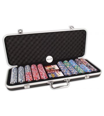 Deluxe pokerset 500 Clay Chips 13.5gr Value